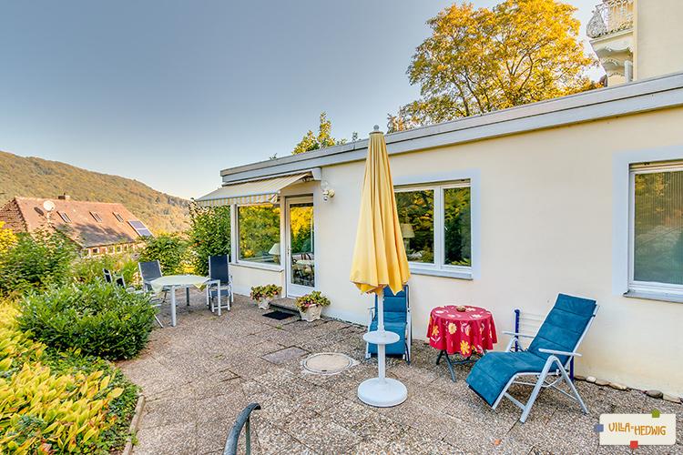 Terrasse der Ferienwohnung Fraenkel